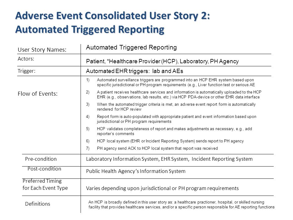 Adverse Event Consolidated User Story 2: Automated Triggered Reporting User Story Names: Actors: Flow of Events: Pre-condition Post-condition Preferre