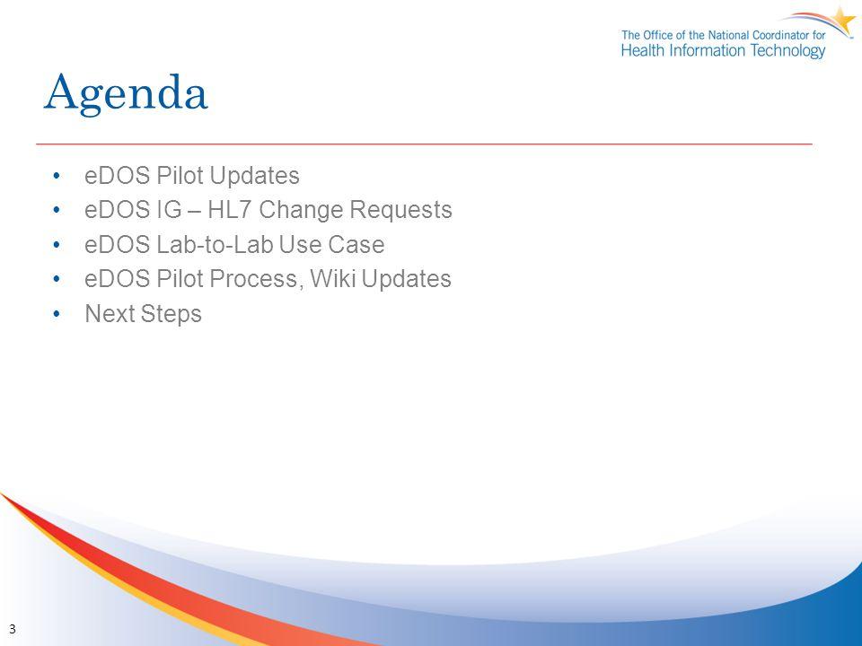 Agenda eDOS Pilot Updates eDOS IG – HL7 Change Requests eDOS Lab-to-Lab Use Case eDOS Pilot Process, Wiki Updates Next Steps 3