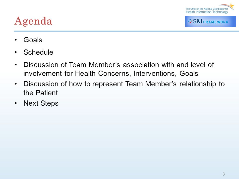 Agenda Goals Schedule Discussion of Team Members association with and level of involvement for Health Concerns, Interventions, Goals Discussion of how