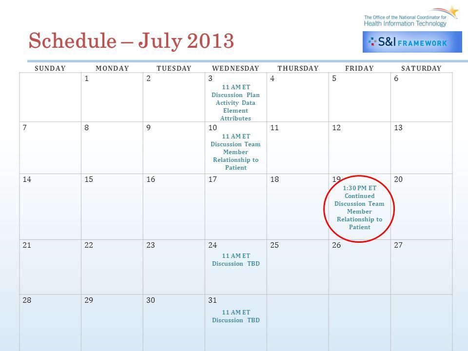 Schedule – July 2013 SUNDAYMONDAYTUESDAYWEDNESDAYTHURSDAYFRIDAYSATURDAY 123456 11 AM ET Discussion Plan Activity Data Element Attributes 78910111213 1