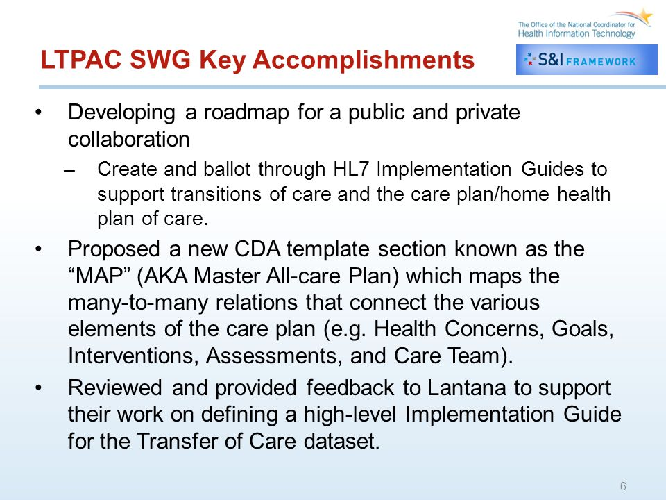 LCP SWG Key Accomplishments Led review and consolidation of LCC Community comments on Care Plan Glossary and RFC Webinar Supported review and deep dive of care plan components of IMPACT dataset 7