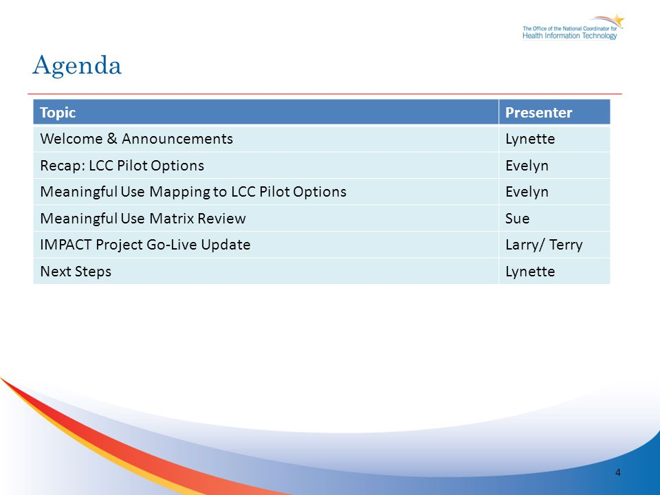 TopicPresenter Welcome & AnnouncementsLynette Recap: LCC Pilot OptionsEvelyn Meaningful Use Mapping to LCC Pilot OptionsEvelyn Meaningful Use Matrix ReviewSue IMPACT Project Go-Live UpdateLarry/ Terry Next StepsLynette Agenda 4