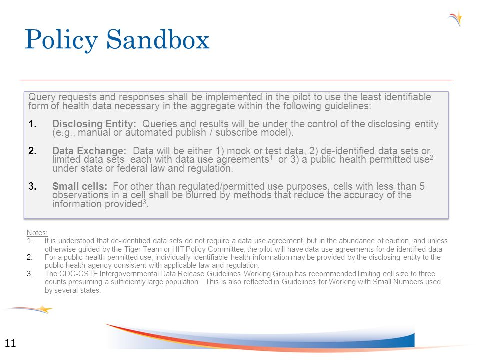 Policy Sandbox Query requests and responses shall be implemented in the pilot to use the least identifiable form of health data necessary in the aggregate within the following guidelines: 1.Disclosing Entity: Queries and results will be under the control of the disclosing entity (e.g., manual or automated publish / subscribe model).