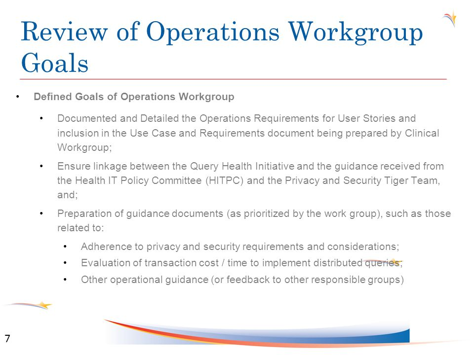 Operational Requirements for Query Health Finalize Best Practice Considerations (Section 2.4) Finalize the following sections: Regulatory Issues (Section 2.5) Assumptions (Section 5.0) Risks, Issues, and Obstacles (Section 13.0) 8