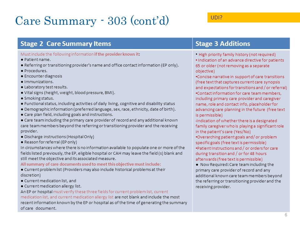 7 ID # Stage 2 Final Rule Stage 3 Recommendations Proposed for Future StageQuestions / Comments 304New EP/ EH / CAH Objective: EP/ EH/CAH who transitions their patient to another site of care or refers their patient to another provider of care For each transition of site of care, provide the care plan information, including the following elements as applicable: Medical diagnoses and stages Functional status, including ADLs Relevant social and financial information (free text) Relevant environmental factors impacting patients health (free text) Most likely course of illness or condition, in broad terms (free text) Cross-setting care team member list, including the primary contact from each active provider setting, including primary care, relevant specialists, and caregiver The patients long-term goal(s) for care, including time frame (not specific to setting) and initial steps toward meeting these goals Specific advance care plan (Physician Orders for Life-Sustaining Treatment (POLST)) and the care setting in which it was executed.