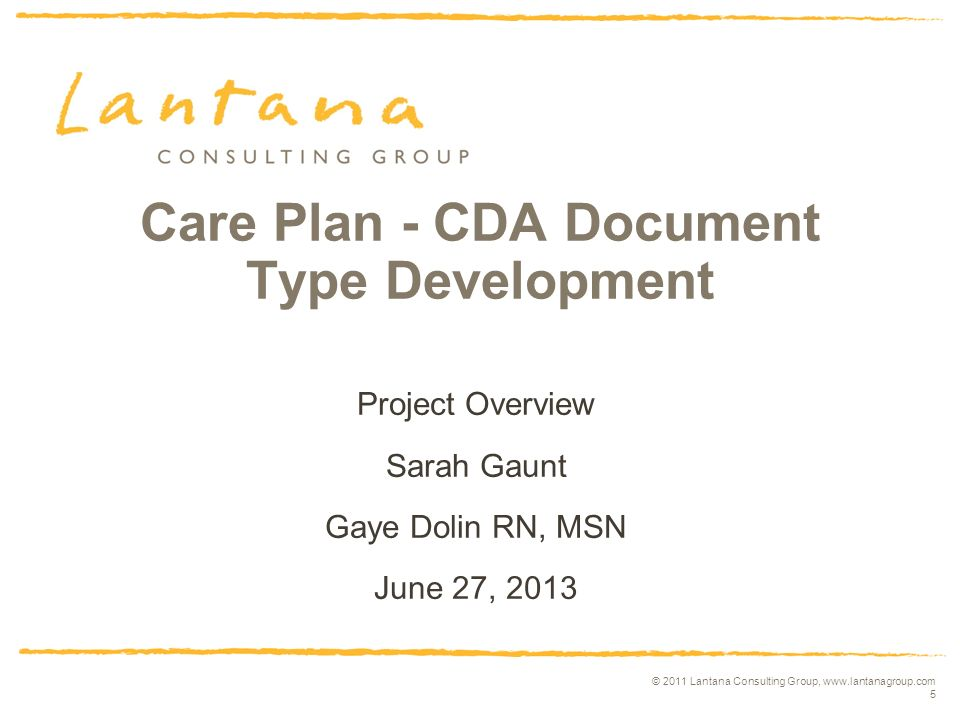 © 2011 Lantana Consulting Group, www.lantanagroup.com 5 Care Plan - CDA Document Type Development Project Overview Sarah Gaunt Gaye Dolin RN, MSN June