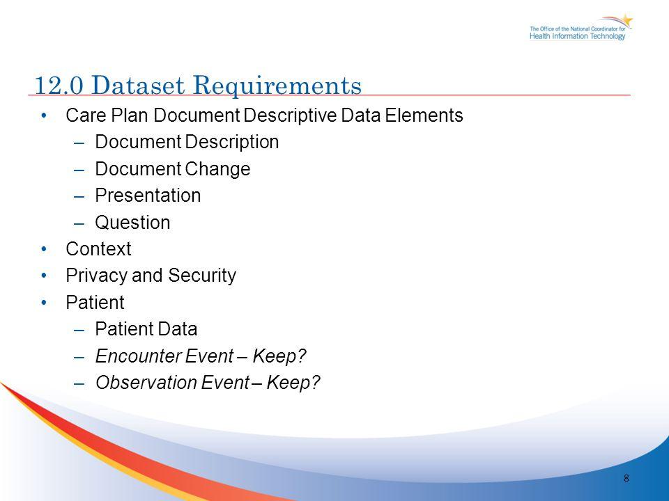 Care Plan Document Descriptive Data Elements –Document Description –Document Change –Presentation –Question Context Privacy and Security Patient –Patient Data –Encounter Event – Keep.
