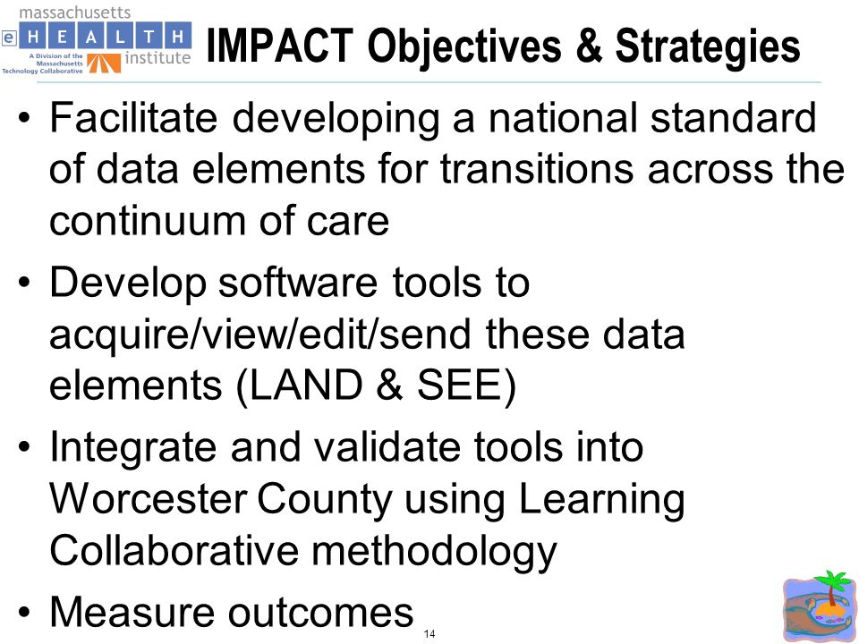 IMPACT Objectives & Strategies Facilitate developing a national standard of data elements for transitions across the continuum of care Develop software tools to acquire/view/edit/send these data elements (LAND & SEE) Integrate and validate tools into Worcester County using Learning Collaborative methodology Measure outcomes 14