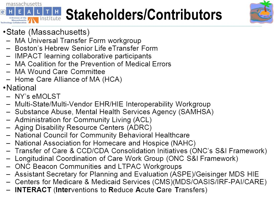 Stakeholders/Contributors State (Massachusetts) –MA Universal Transfer Form workgroup –Bostons Hebrew Senior Life eTransfer Form –IMPACT learning collaborative participants –MA Coalition for the Prevention of Medical Errors –MA Wound Care Committee –Home Care Alliance of MA (HCA) National –NYs eMOLST –Multi-State/Multi-Vendor EHR/HIE Interoperability Workgroup –Substance Abuse, Mental Health Services Agency (SAMHSA) –Administration for Community Living (ACL) –Aging Disability Resource Centers (ADRC) –National Council for Community Behavioral Healthcare –National Association for Homecare and Hospice (NAHC) –Transfer of Care & CCD/CDA Consolidation Initiatives (ONCs S&I Framework) –Longitudinal Coordination of Care Work Group (ONC S&I Framework) –ONC Beacon Communities and LTPAC Workgroups –Assistant Secretary for Planning and Evaluation (ASPE)/Geisinger MDS HIE –Centers for Medicare & Medicaid Services (CMS)(MDS/OASIS/IRF-PAI/CARE) –INTERACT (Interventions to Reduce Acute Care Transfers)
