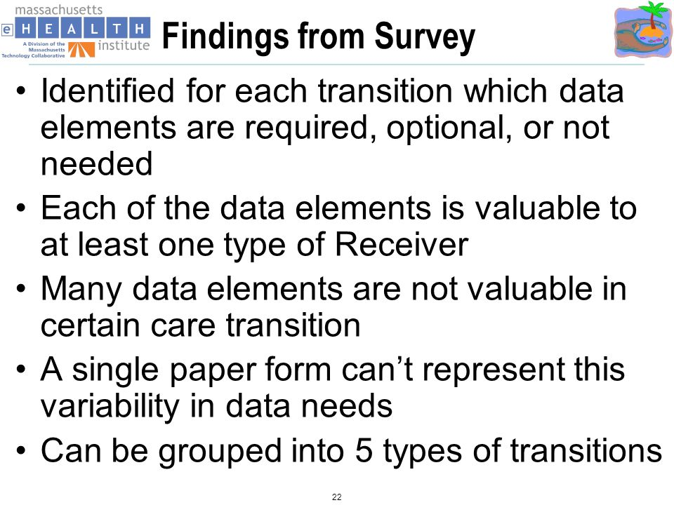 Findings from Survey Identified for each transition which data elements are required, optional, or not needed Each of the data elements is valuable to