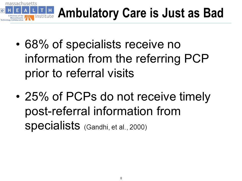 Ambulatory Care is Just as Bad 68% of specialists receive no information from the referring PCP prior to referral visits 25% of PCPs do not receive timely post-referral information from specialists (Gandhi, et al., 2000) 8