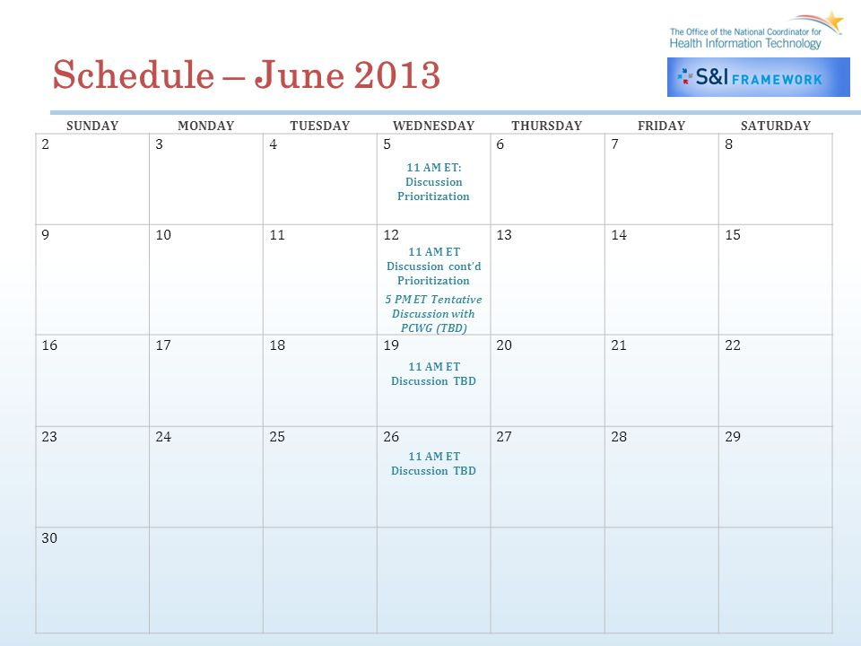 Schedule – June 2013 SUNDAYMONDAYTUESDAYWEDNESDAYTHURSDAYFRIDAYSATURDAY 2345678 11 AM ET: Discussion Prioritization 9101112131415 11 AM ET Discussion