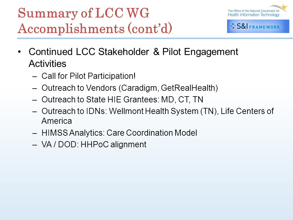 Summary of LCC WG Accomplishments (contd) Continued LCC Stakeholder & Pilot Engagement Activities –Call for Pilot Participation.