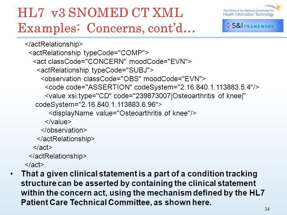 34 HL7 v3 SNOMED CT XML Examples: Concerns, contd…. That a given clinical statement is a part of a condition tracking structure can be asserted by con