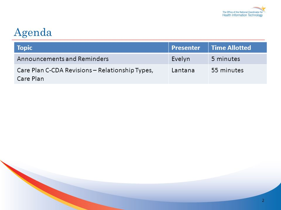 TopicPresenterTime Allotted Announcements and RemindersEvelyn5 minutes Care Plan C-CDA Revisions – Relationship Types, Care Plan Lantana55 minutes Agenda 2