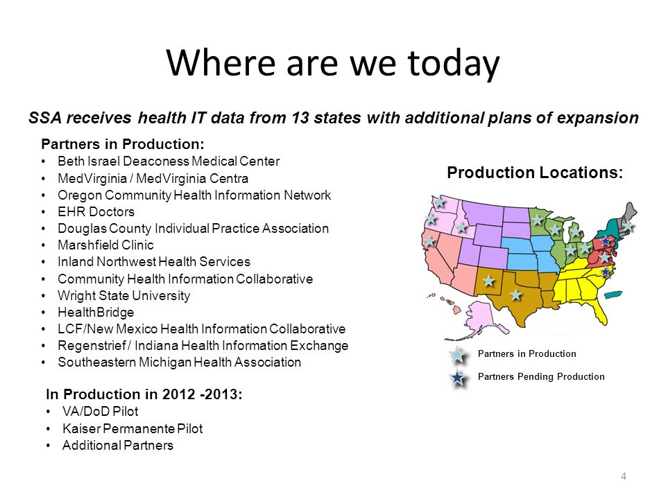 Where are we today 4 Partners in Production: Beth Israel Deaconess Medical Center MedVirginia / MedVirginia Centra Oregon Community Health Information Network EHR Doctors Douglas County Individual Practice Association Marshfield Clinic Inland Northwest Health Services Community Health Information Collaborative Wright State University HealthBridge LCF/New Mexico Health Information Collaborative Regenstrief / Indiana Health Information Exchange Southeastern Michigan Health Association Production Locations: In Production in 2012 -2013: VA/DoD Pilot Kaiser Permanente Pilot Additional Partners SSA receives health IT data from 13 states with additional plans of expansion Partners in Production Partners Pending Production