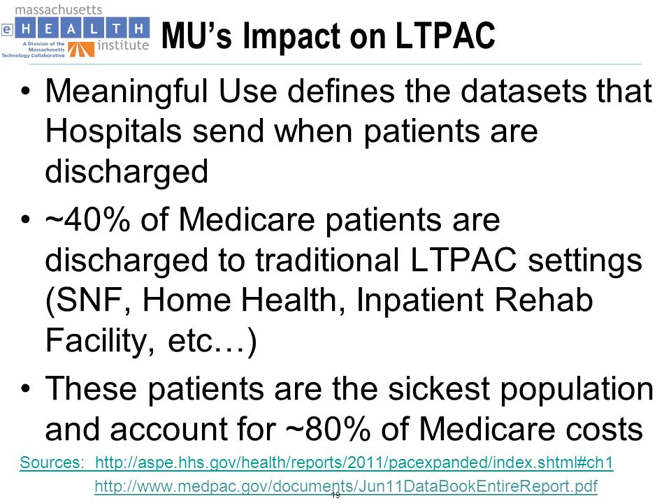 IMPACT Grant February 2011 – HHS/ONC awarded $1.7M HIE Challenge Grant to state of Massachusetts (MTC/MeHI): I mproving M assachusetts P ost- A cute C are T ransfers ( IMPACT) 20