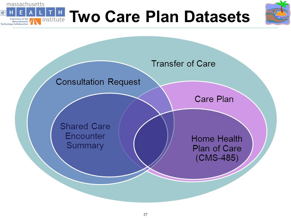 37 Transfer of Care Care Plan Shared Care Encounter Summary Consultation Request Two Care Plan Datasets Home Health Plan of Care (CMS-485)