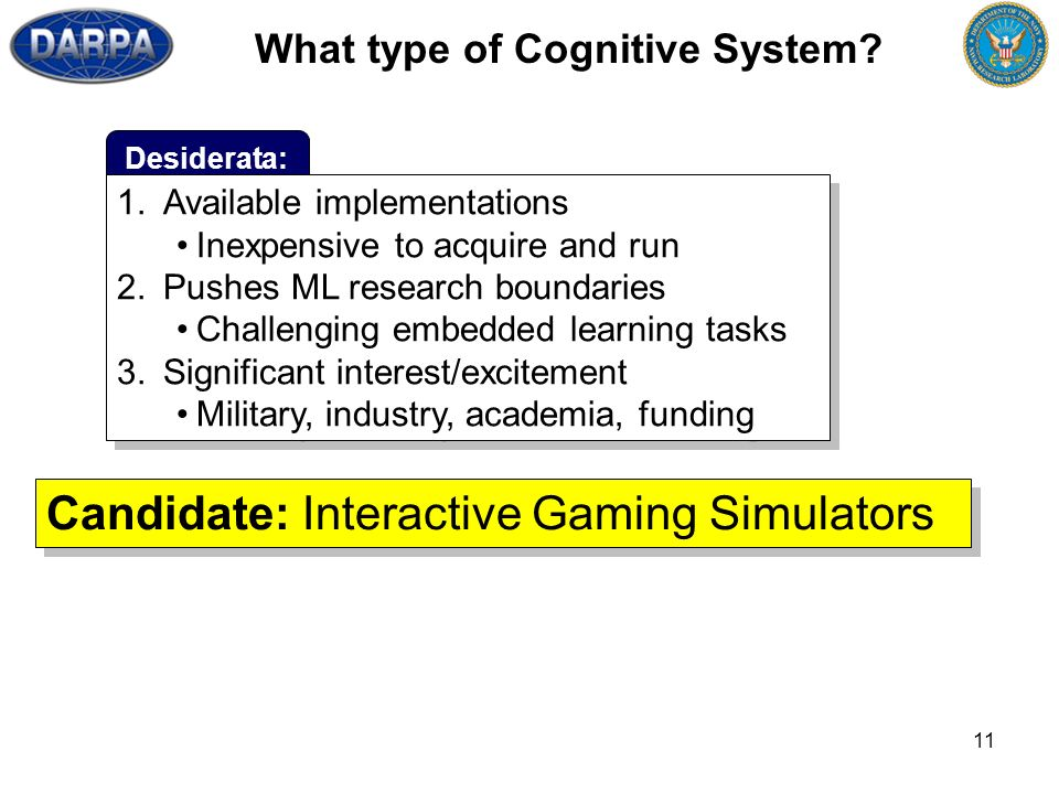 11 What type of Cognitive System? Desiderata: Candidate: Interactive Gaming Simulators 1.Available implementations Inexpensive to acquire and run 2.Pu
