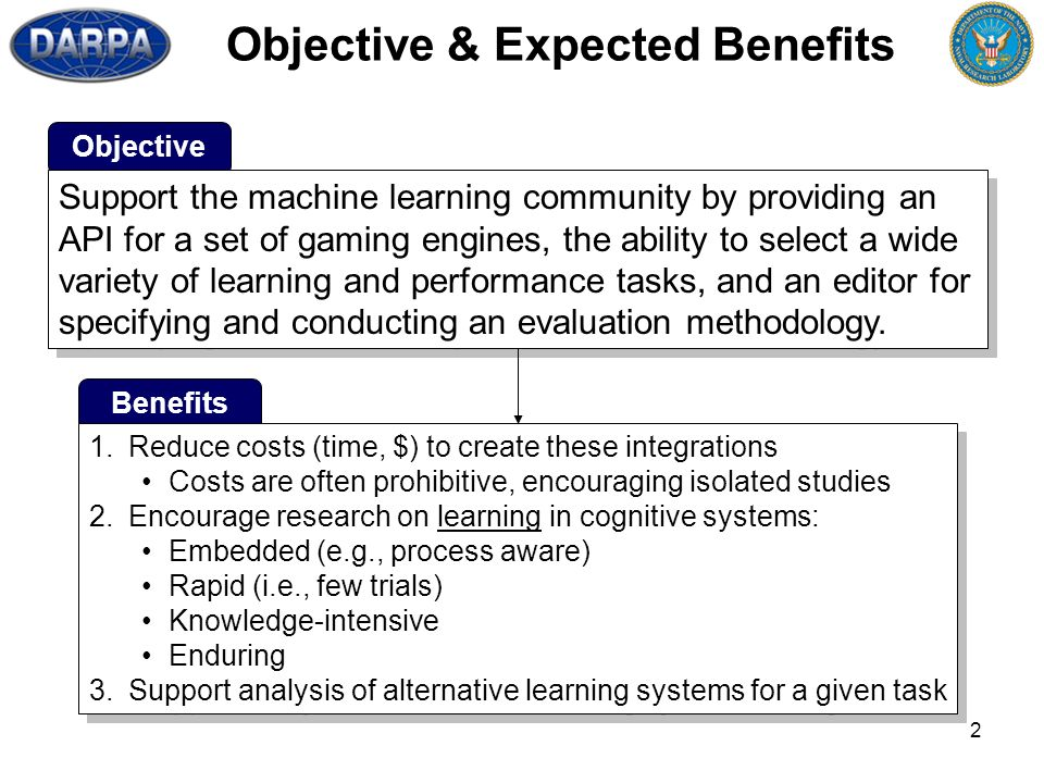 2 Objective & Expected Benefits Objective Support the machine learning community by providing an API for a set of gaming engines, the ability to select a wide variety of learning and performance tasks, and an editor for specifying and conducting an evaluation methodology.