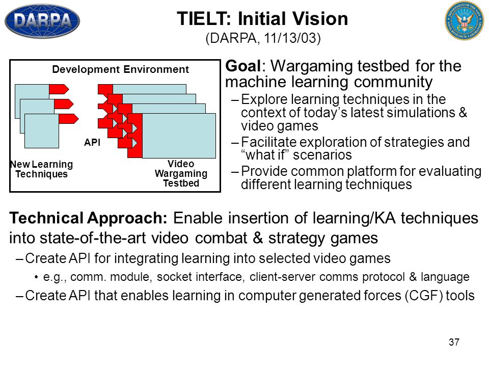 37 Goal: Wargaming testbed for the machine learning community –Explore learning techniques in the context of todays latest simulations & video games –