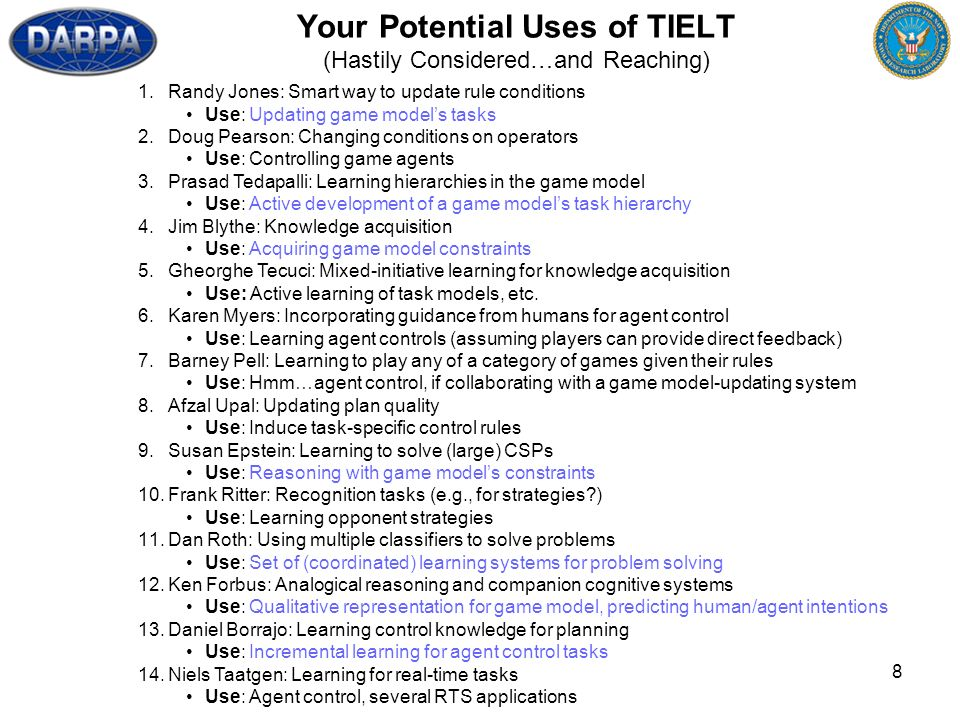 8 Your Potential Uses of TIELT (Hastily Considered…and Reaching) 1.Randy Jones: Smart way to update rule conditions Use: Updating game models tasks 2.