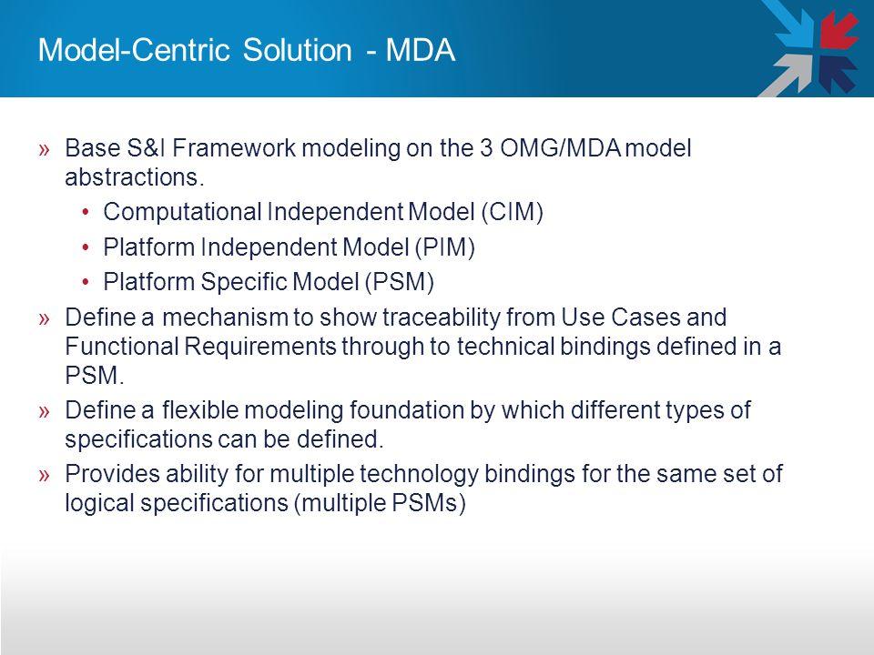 Model-Centric Solution - MDA »Base S&I Framework modeling on the 3 OMG/MDA model abstractions. Computational Independent Model (CIM) Platform Independ