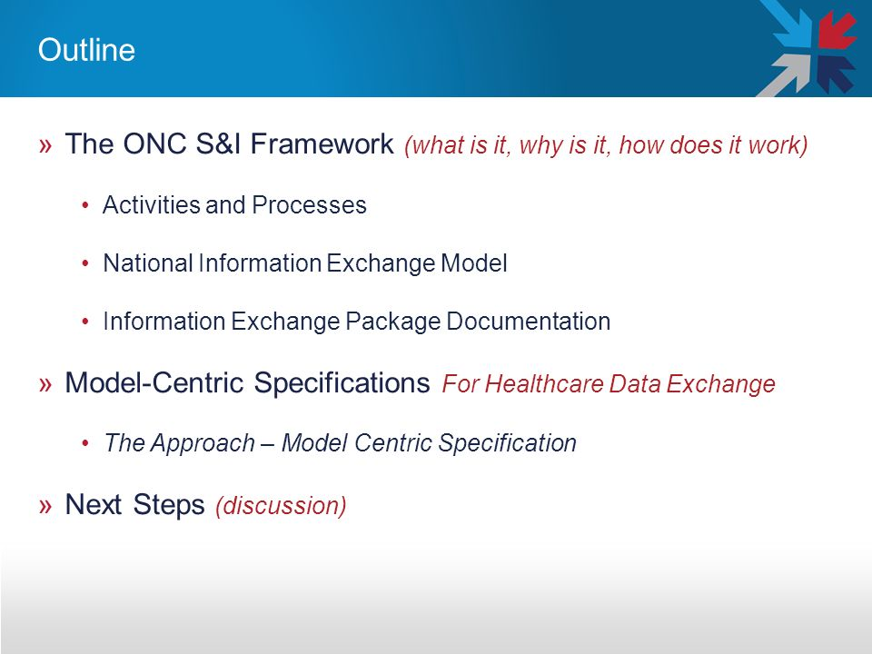Outline »The ONC S&I Framework (what is it, why is it, how does it work) Activities and Processes National Information Exchange Model Information Exchange Package Documentation »Model-Centric Specifications For Healthcare Data Exchange The Approach – Model Centric Specification »Next Steps (discussion)
