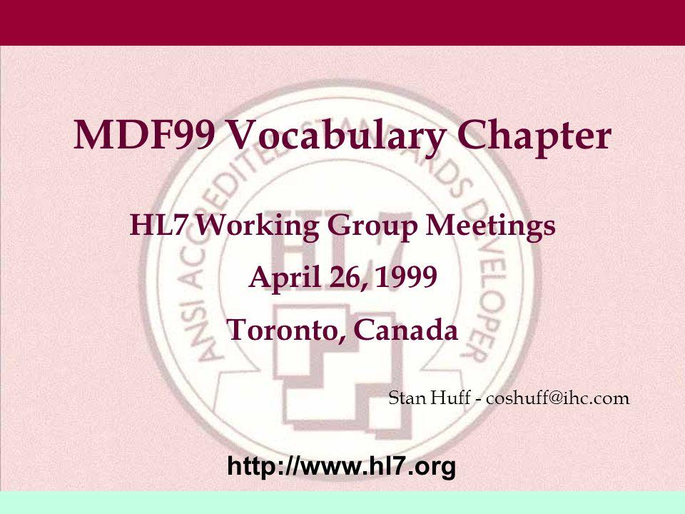 3/18/199920© 1999, Health Level Seven, Inc.
