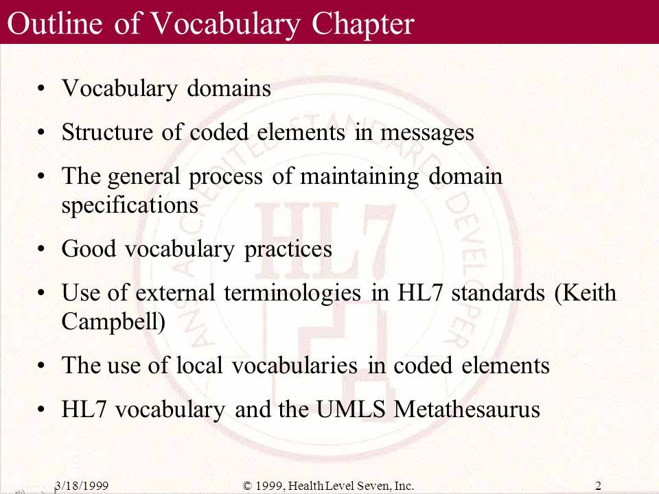 3/18/199912© 1999, Health Level Seven, Inc. Composite Domain Definition Table