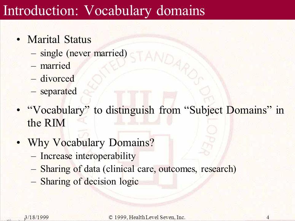 3/18/199914© 1999, Health Level Seven, Inc. Composite Domain Definition (version tracking)