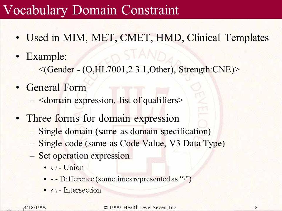 3/18/199918© 1999, Health Level Seven, Inc. LOINC to Domain Linking Table