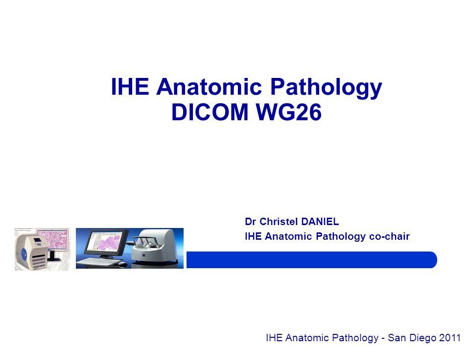 Dr Christel DANIEL IHE Anatomic Pathology co-chair IHE Anatomic Pathology DICOM WG26 IHE Anatomic Pathology - San Diego 2011