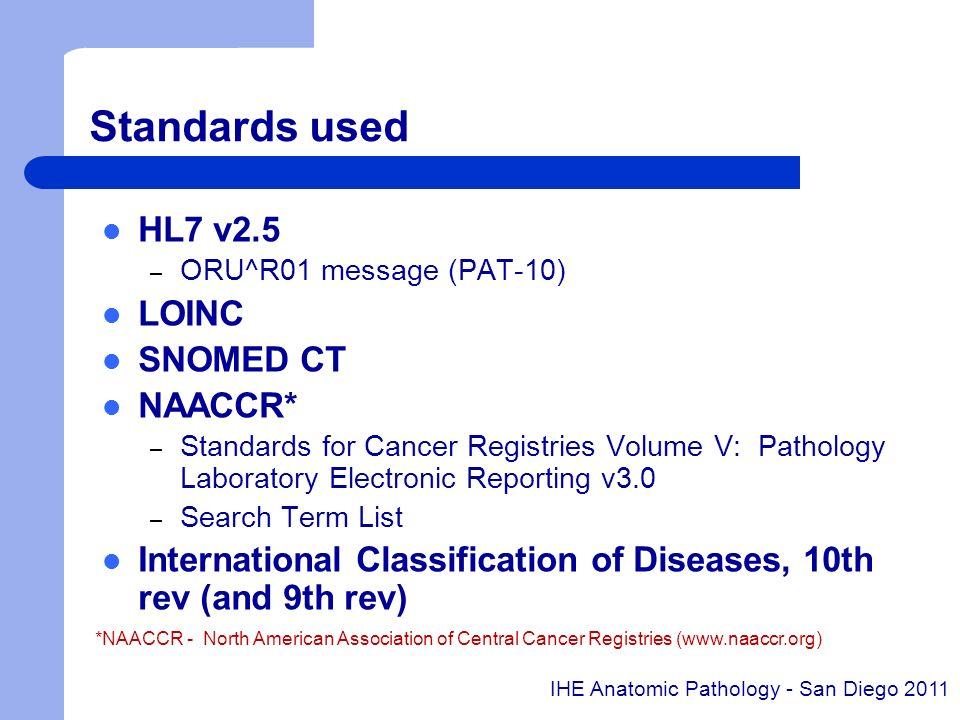 Standards used HL7 v2.5 – ORU^R01 message (PAT-10) LOINC SNOMED CT NAACCR* – Standards for Cancer Registries Volume V: Pathology Laboratory Electronic