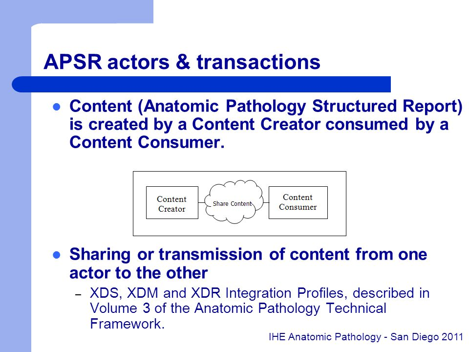 APSR actors & transactions Content (Anatomic Pathology Structured Report) is created by a Content Creator consumed by a Content Consumer. Sharing or t