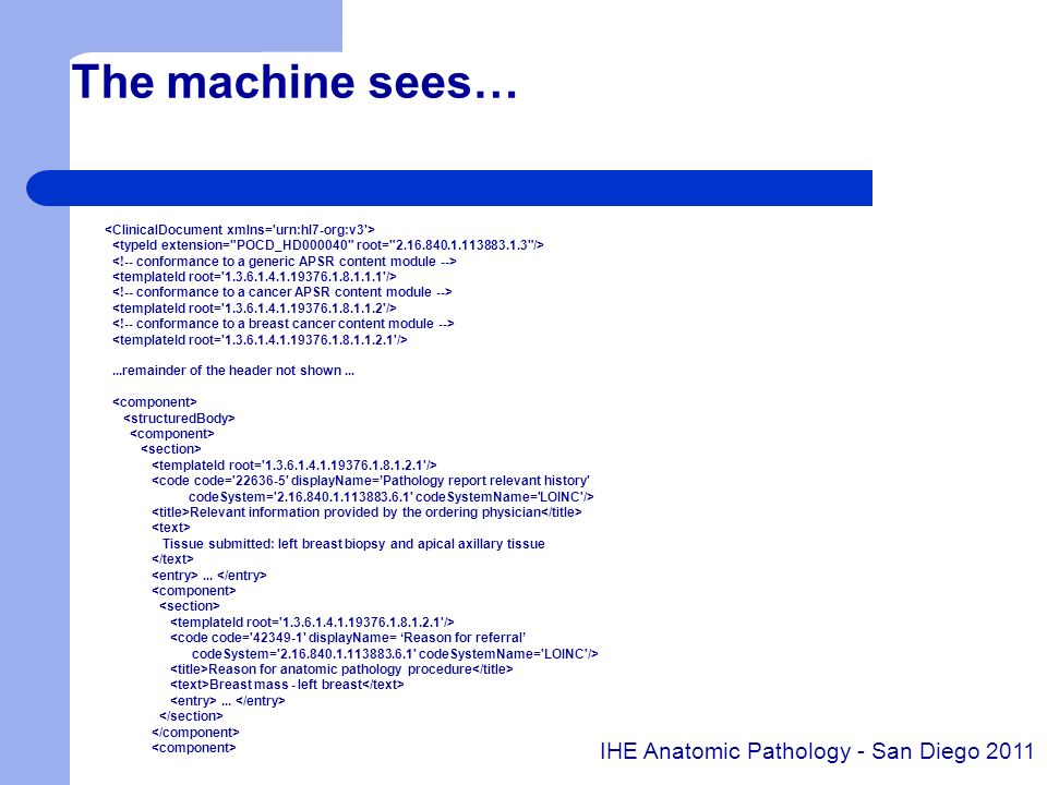 The machine sees…...remainder of the header not shown... <code code='22636-5' displayName=Pathology report relevant history' codeSystem='2.16.840.1.11