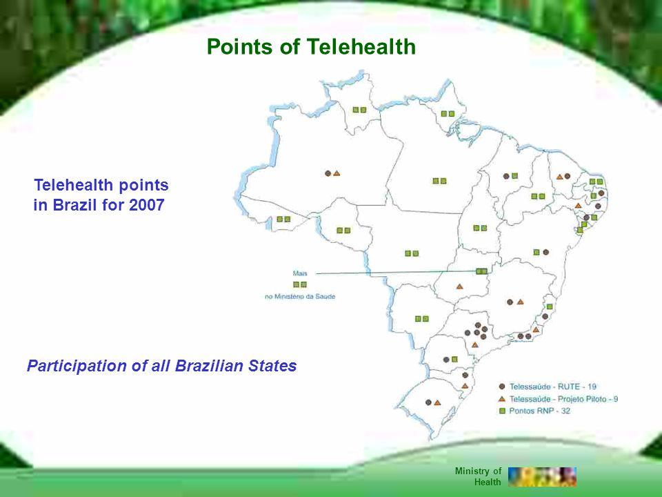 18 Jan-07 Telehealth points in Brazil for 2007 Participation of all Brazilian States Points of Telehealth Ministry of Health