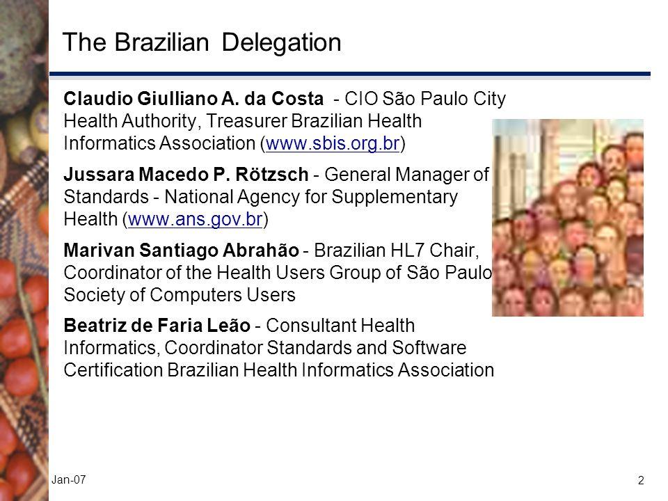 2 Jan-07 The Brazilian Delegation Claudio Giulliano A. da Costa - CIO São Paulo City Health Authority, Treasurer Brazilian Health Informatics Associat