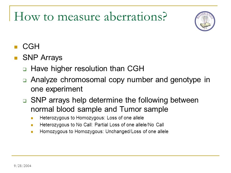 9/28/2004 How to measure aberrations? CGH SNP Arrays Have higher resolution than CGH Analyze chromosomal copy number and genotype in one experiment SN