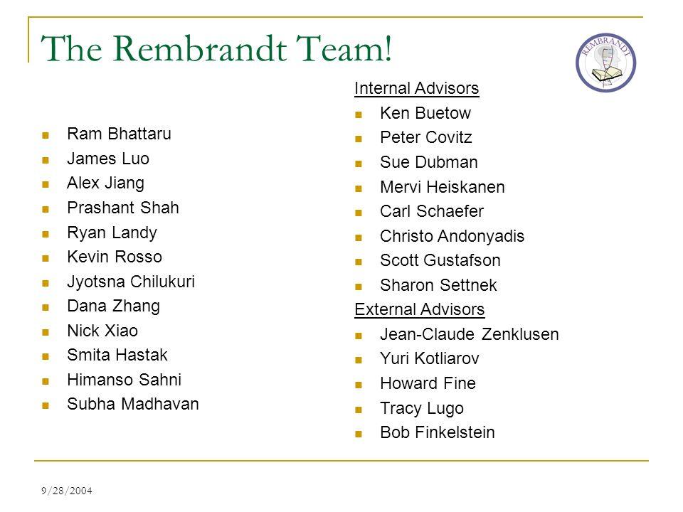 9/28/2004 The Rembrandt Team! Ram Bhattaru James Luo Alex Jiang Prashant Shah Ryan Landy Kevin Rosso Jyotsna Chilukuri Dana Zhang Nick Xiao Smita Hast