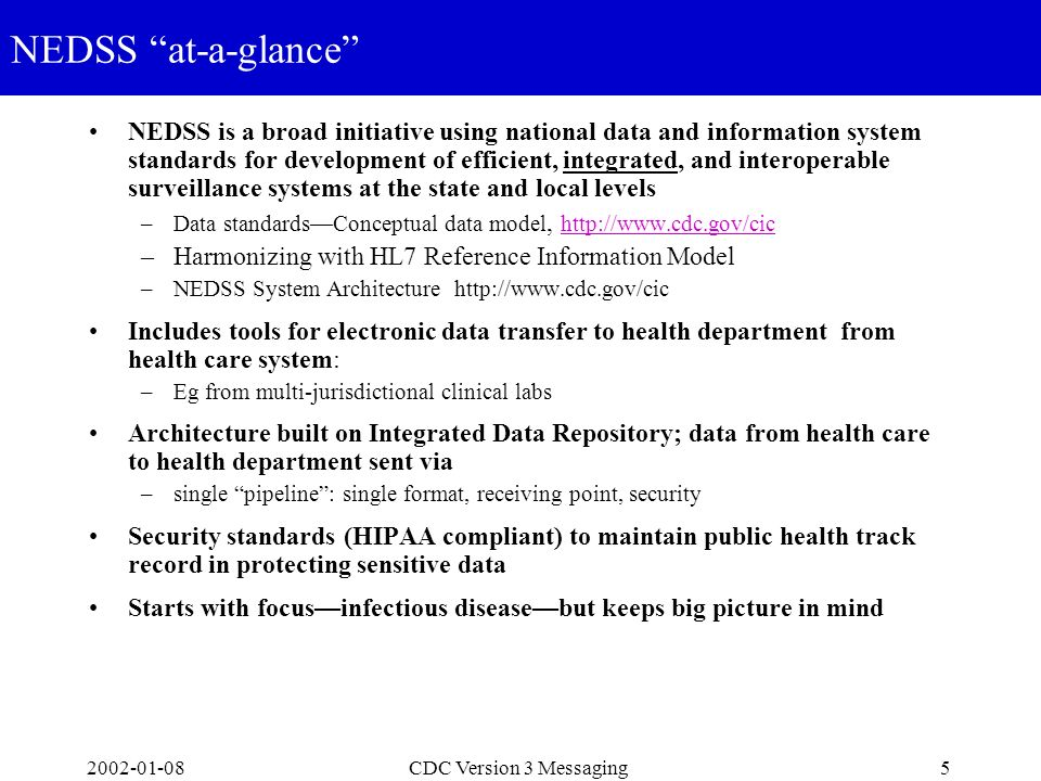 2002-01-085CDC Version 3 Messaging NEDSS at-a-glance NEDSS is a broad initiative using national data and information system standards for development