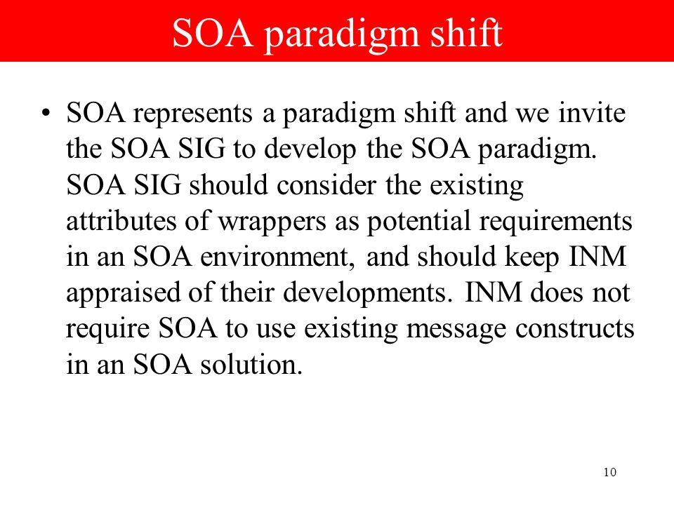 10 SOA paradigm shift SOA represents a paradigm shift and we invite the SOA SIG to develop the SOA paradigm. SOA SIG should consider the existing attr