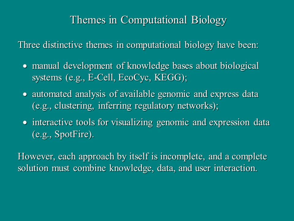 Themes in Computational Biology manual development of knowledge bases about biological systems (e.g., E-Cell, EcoCyc, KEGG); manual development of knowledge bases about biological systems (e.g., E-Cell, EcoCyc, KEGG); automated analysis of available genomic and express data (e.g., clustering, inferring regulatory networks); automated analysis of available genomic and express data (e.g., clustering, inferring regulatory networks); interactive tools for visualizing genomic and expression data (e.g., SpotFire).