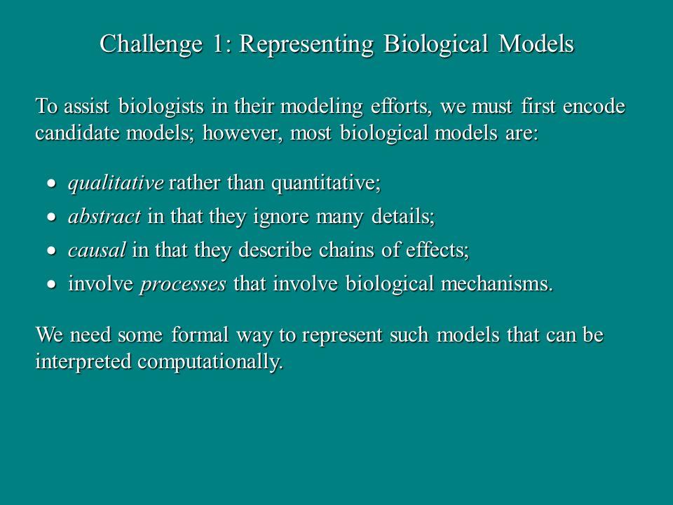 Challenge 1: Representing Biological Models qualitative rather than quantitative; qualitative rather than quantitative; abstract in that they ignore m