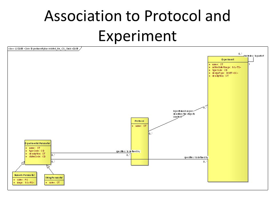 Association to Protocol and Experiment