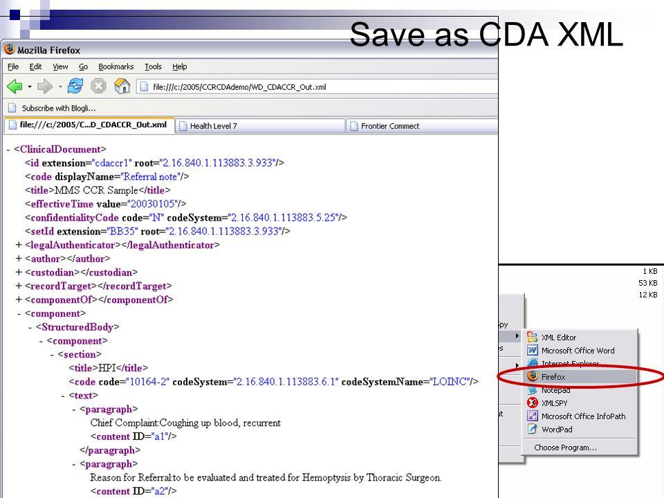 Save as CDA XML