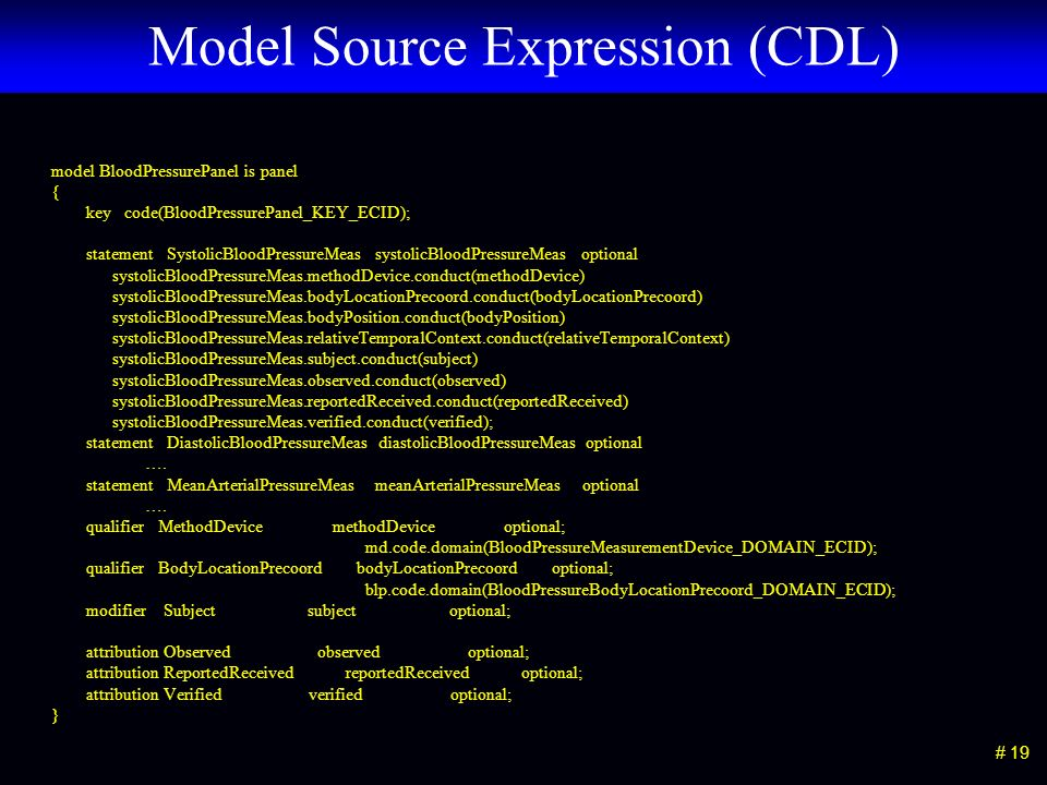 # 19 Model Source Expression (CDL) model BloodPressurePanel is panel { key code(BloodPressurePanel_KEY_ECID); statement SystolicBloodPressureMeas syst