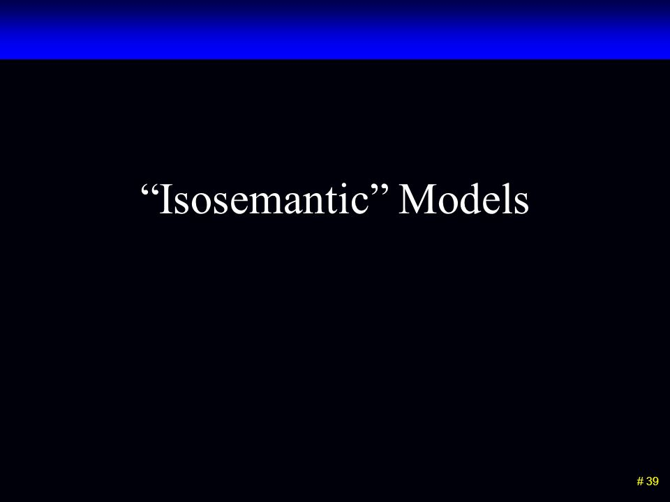 # 39 Isosemantic Models