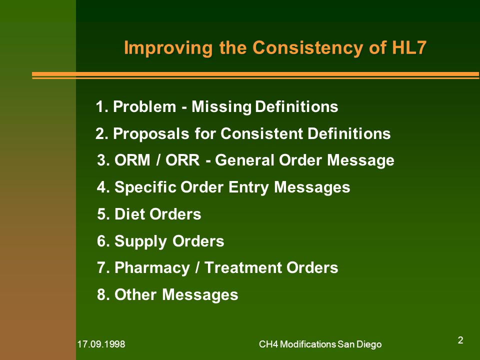 CH4 Modifications San Diego 2 Improving the Consistency of HL7 1.