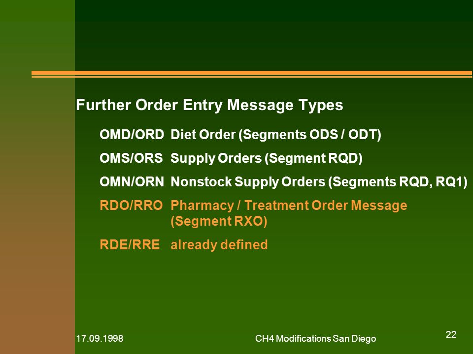 CH4 Modifications San Diego 22 Further Order Entry Message Types OMD/ORDDiet Order (Segments ODS / ODT) OMS/ORSSupply Orders (Segment RQD) OMN/ORNNonstock Supply Orders (Segments RQD, RQ1) RDO/RROPharmacy / Treatment Order Message (Segment RXO) RDE/RREalready defined